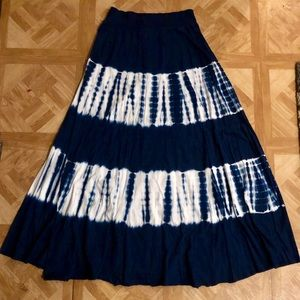 Tryst Skirts - NWOT: Blue & White Tye-Dye Flowing Maxi Skirt- M